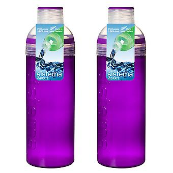 Sistema Set of 2 Trio Bottles 700ml, Purple