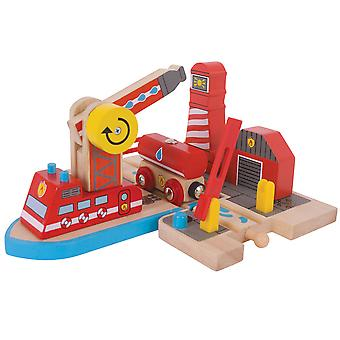 Bigjigs Rail Wooden Fire Sea Rescue Train Track Playset Accessories Railway