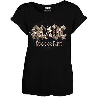 Mulheres AC/DC rock ou busto equipado T-shirt