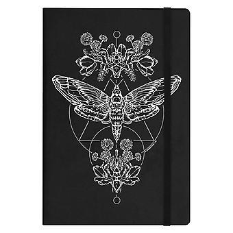 Grindstore tête de mort papillon noir a5 couverture rigide pour ordinateur portable