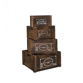 Rebecca furniture set 4 dozen manden type cassettes fruithout donker wit Vintage retro