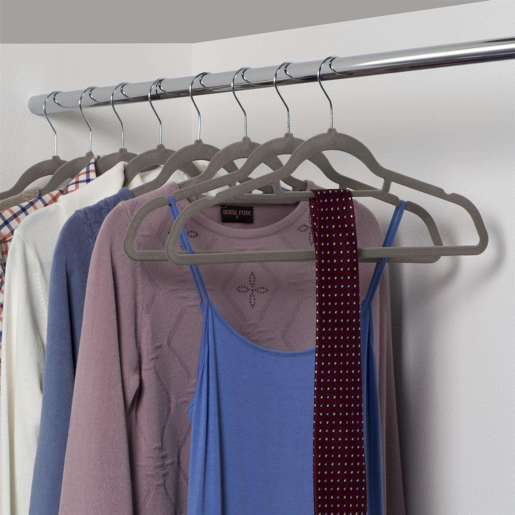 Set of 20 Grey Velvet Suit Hangers with Notches and Bar