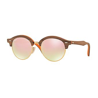 Ray-Ban Clubround houten bruine zonnebril RB4246M-12187O-51