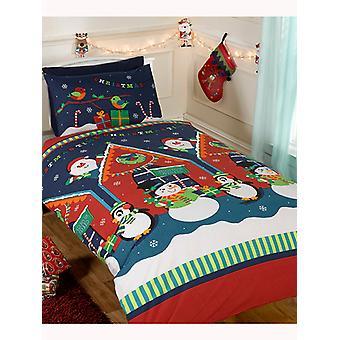 Santa's Grotto Christmas Duvet Cover & Pillowcase Set