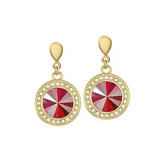 Eternal Collection Viva Red Shimmer Austrian Crystal Gold Tone Drop Clip On Earrings
