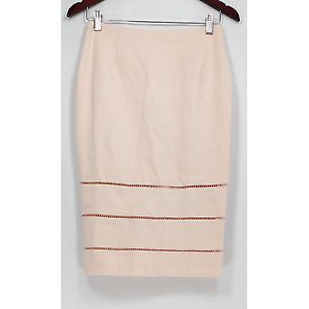 G.I.L.I Skirt Pencil Skirt w/ Open Work Detail Beige A275548