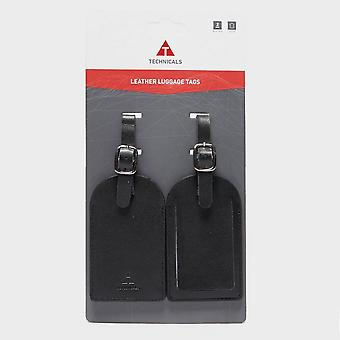 New Technicals Set of 2 Leather Travel Luggage Tags Black