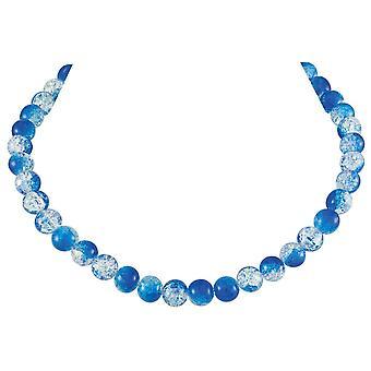 الأبدية كرنفال كرنفال الزجاج التشيكي الأزرق كراكل الخرز الفضي قلادة لهجة