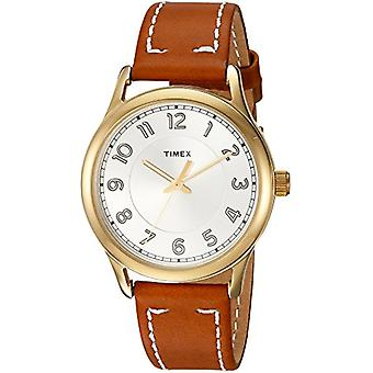 Timex Women's TW2R23000 New England Brown/Gold Leather Strap Watch
