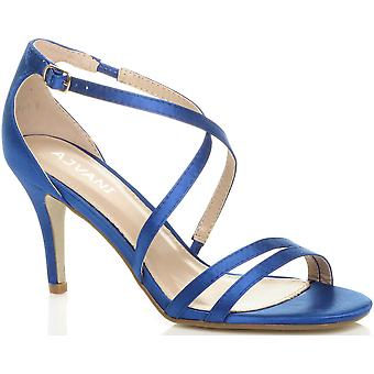 Ajvani womens mid low high heel strappy crossover party wedding prom sandals shoes