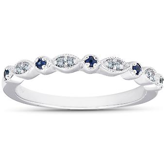1/5 ct Blue Sapphire & Diamond Wedding Ring Stackable Band 10k White Gold