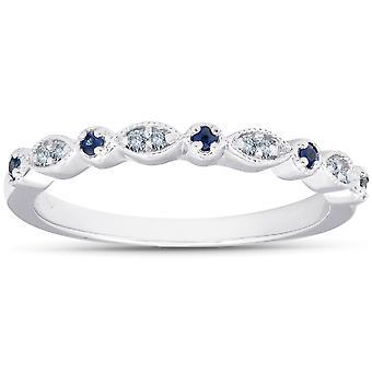 1/5 ct & safira azul do anel de noivado de diamante empilhável banda 10K ouro branco