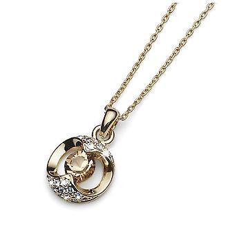 Oliver Weber-guldpläterad pendel med Swarovski kristaller-monterad på utbyggbar kedjelängd 40-25 cm
