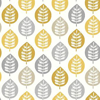 Metallic Leaf Wallpaper Ochre Yellow Grey White Gold Floral Arthouse Amira