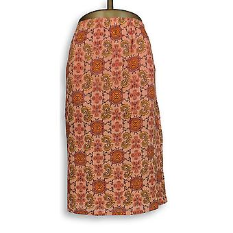 Liz Claiborne New York Skirt Pull-On Fully Lined Orange A253732