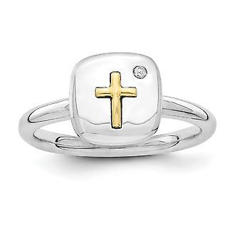 2.25mm 925 Sterling Silver Rodium pläterad och 14k religiös tro Cross Stapelable Uttryck Diamond Ring Smycken Gåvor