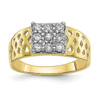 10k keltainen kulta kuvioitu kiillotettu CZ Cubic Zirkonia Simuloitu Diamond pojille tai tytöille Ring