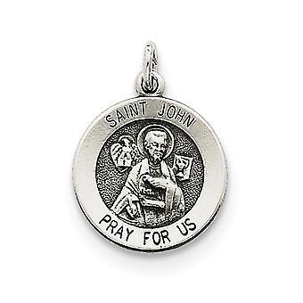 925 Sterling Argento Solido Intravabile Antiquariato finitura Antiquariato Saint John Medal Ciondolo - 1.2 Grams