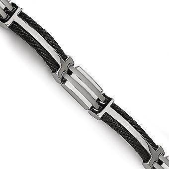 Titan gebürstet poliert Fold über IP schwarz vergoldet schwarz Plating Armband 8,5 Zoll Schmuck Geschenke für Frauen