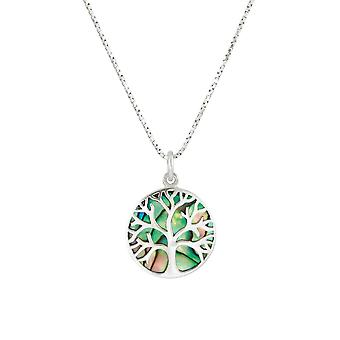 Eternal Collection Tree Of Life Abalone Sterling Silver Pendant