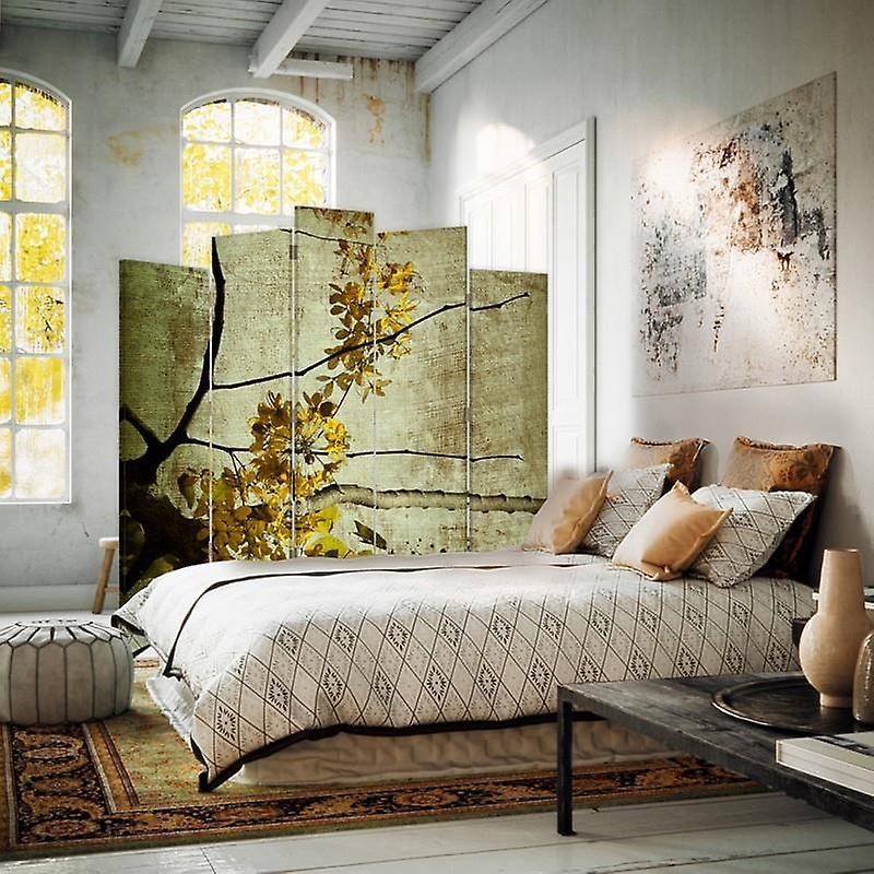 Diviseur de salle décorative, 5 panneaux, double-sided, Rotatable 360 ?? Toile, Blooming Branch 5