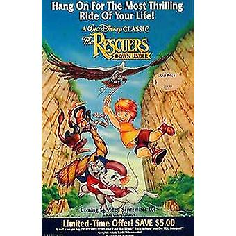The Rescuers Down Under (Single Sided Video) Original Video/Dvd Ad Poster