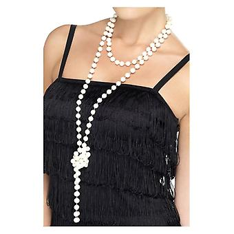 Womens 1920s Pearl Necklace Fancy Dress Accessory
