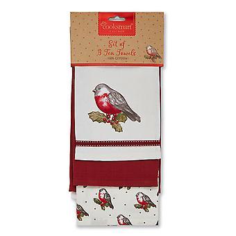 Cooksmart Christmas Red Robin Geschirrtücher