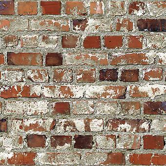 Loft rode baksteen behang Muriva 102538