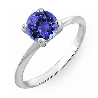 Colección Dazzlingrock 10K 4 MM Round Cut Tanzanite Ladies Solitaire Bridal Engagement Ring, Oro Blanco