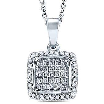 "3/4 cttw Princess Cut Pave Diamond Halo Pendant 10K White Gold 1"" Tall"