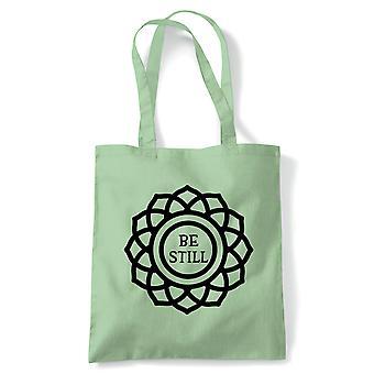 Være fortsatt tote | Meditere meditasjon fred rolig stille sinn Spirit | Gjenbrukbare shopping Cotton Canvas Long håndtert Natural shopper miljøvennlig mote