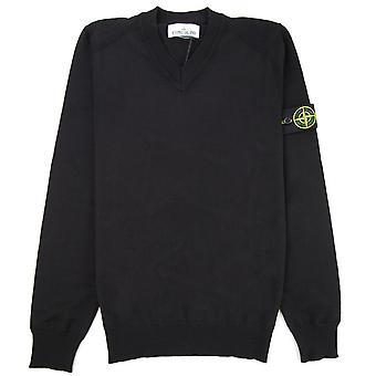 Stone Island 584C4 V Neck Wool Knitted Sweatshirt Black V0029