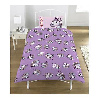 Emoji Unicorn Unicorn Duvet Cover Set Bed Set Reversible 137x198 cm