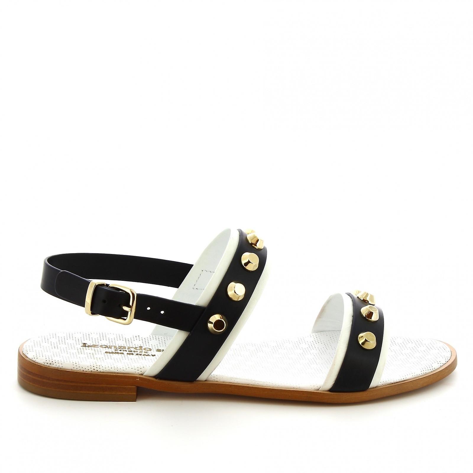 Leonardo Shoes Femmes-apos;s sandales plates cloutées à la main en cuir de veau bleu