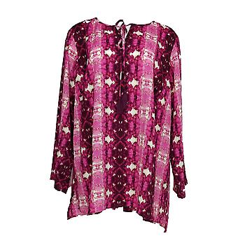 Linea by Louis Dell'Olio Women's Plus Top Tie Dye Printed Pink A306411