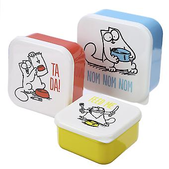 Simon's Cat Bread Cans set of 3 sets, red/yellow/blue/white, printed, 100% plastic, in polybag.