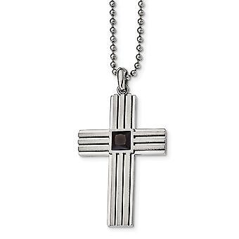 Aço inoxidável escrutecido e polido com zircônia cúbica cz preta simulado diamante fé religiosa cruz nec