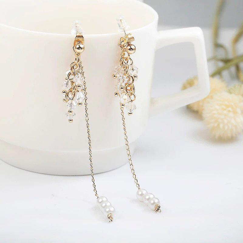 Pearl Chain Drop Earrings in Gold and Crystal Bunch