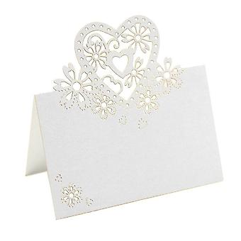 50stk Love Heart Pearlescent Laser Cut Tabel Navn Place Card