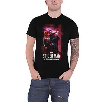 الرسمية سبايدرمان تي قميص Spidey الحواس الجديدة الرسمية الأعجوبة كاريكاتير الرجال الأسود