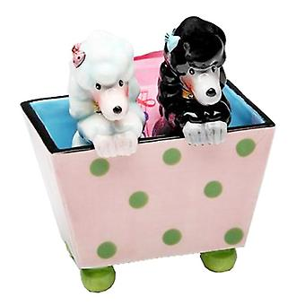 Black and White Poodle Dogs In Pink Box Salt and Pepper Shakers Set