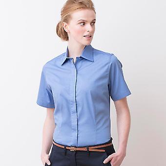 Henbury women's short sleeved lightweight oxford hb556