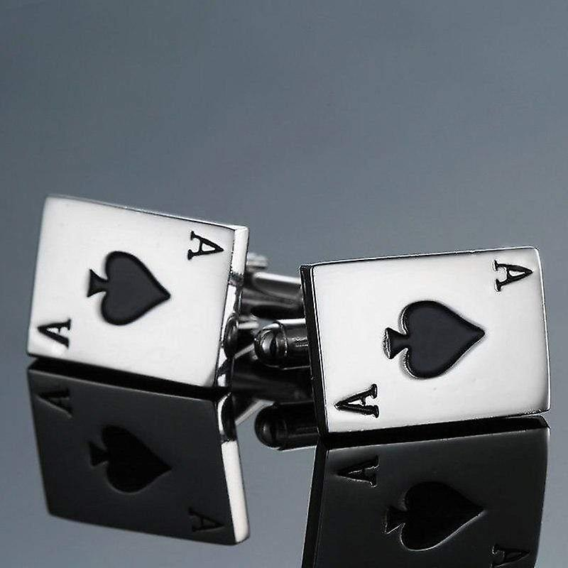 Ace of spades poker themed cuff links stainless steel