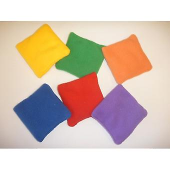 EVC-0025, Fleece Square Beanbags 5'quot; '5'quot; - ensemble de 6 couleurs Jeu