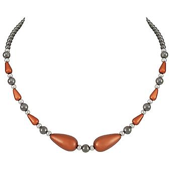 Eternal Collection Eureka Orange Lucite And Hematite Beaded Necklace