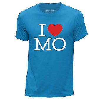 STUFF4 Men's Round Neck T-Shirt/I Heart MO / Love Missouri/Blue