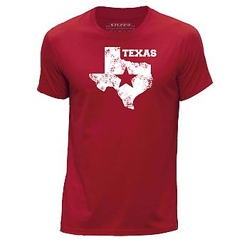 STUFF4 Hombres's Round Neck Camiseta/USA State / Texas/Red