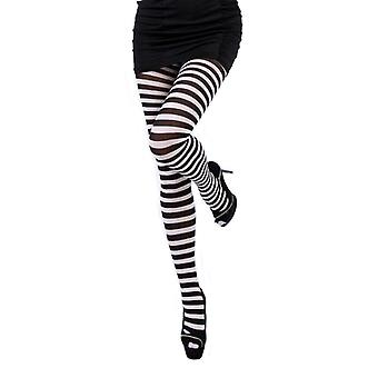 Womens Striped Nylon Tights Opaque Hosiery Costume Leggings