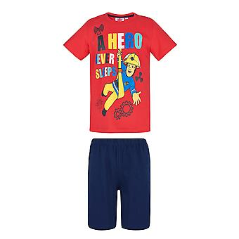 Fireman sam boys short sleeve pyjama set red